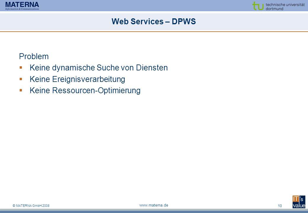 Keine dynamische Suche von Diensten Keine Ereignisverarbeitung