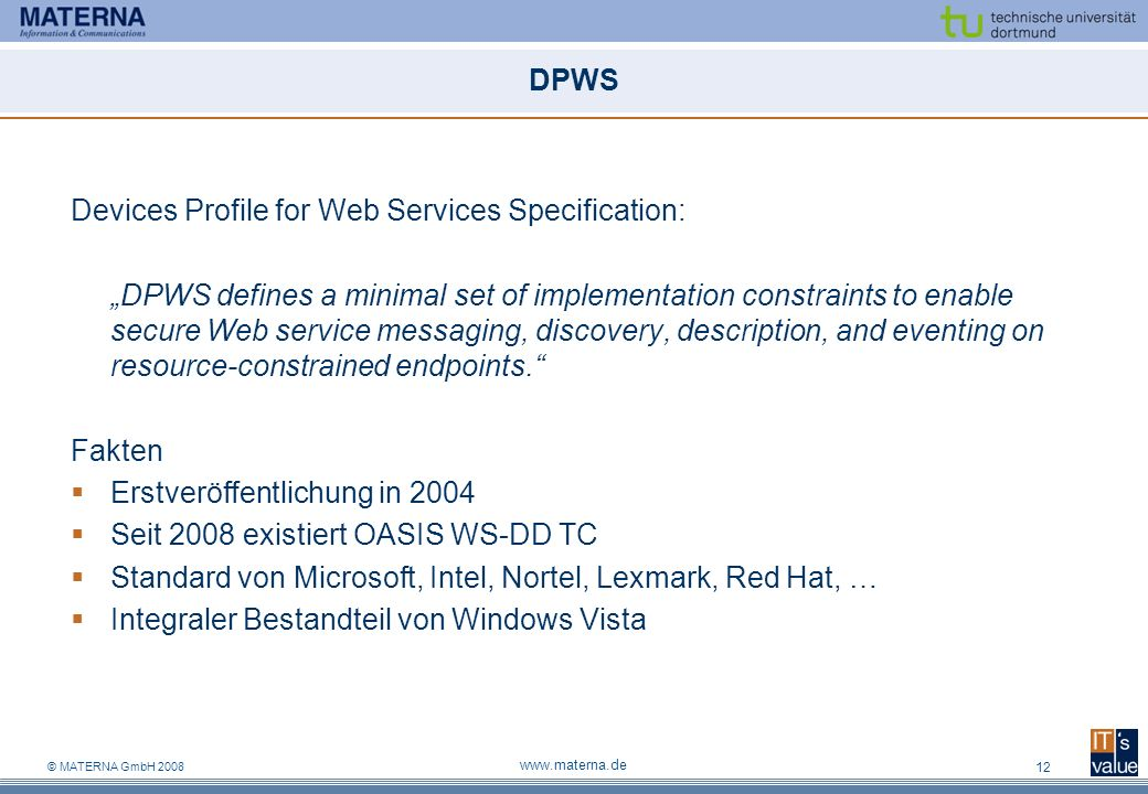Devices Profile for Web Services Specification: