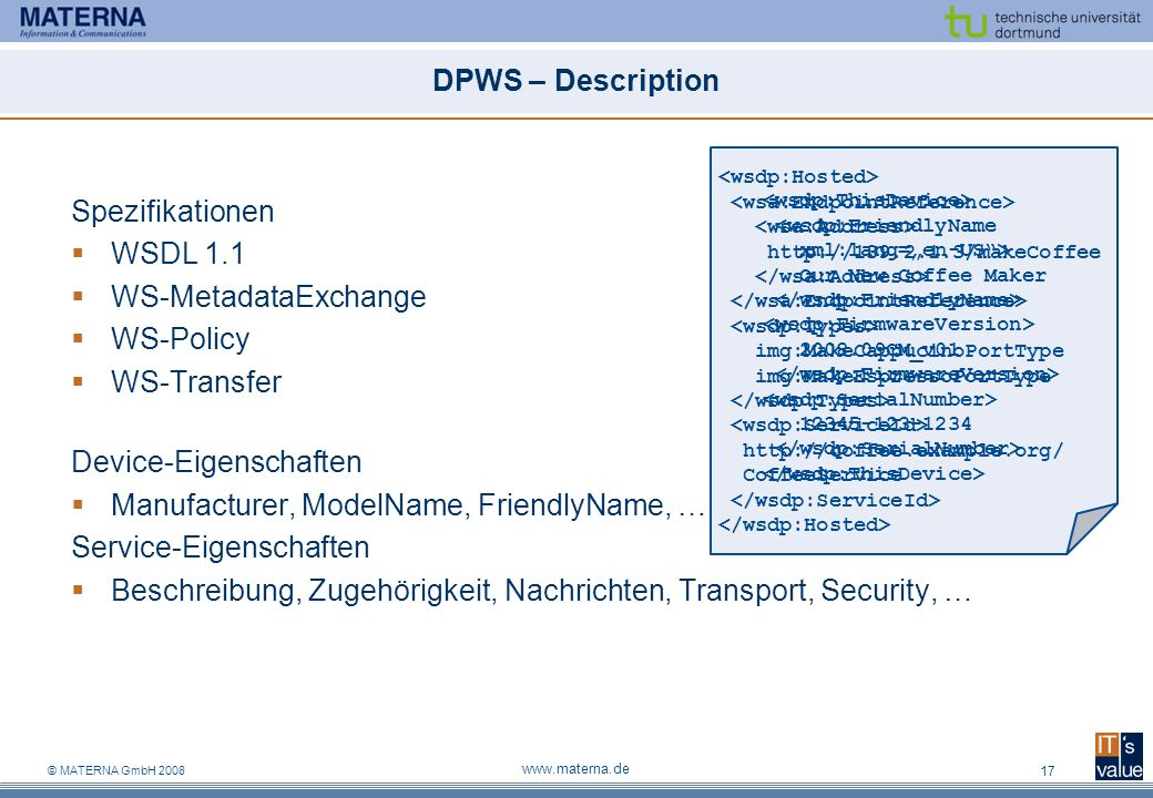 Device-Eigenschaften Manufacturer, ModelName, FriendlyName, …