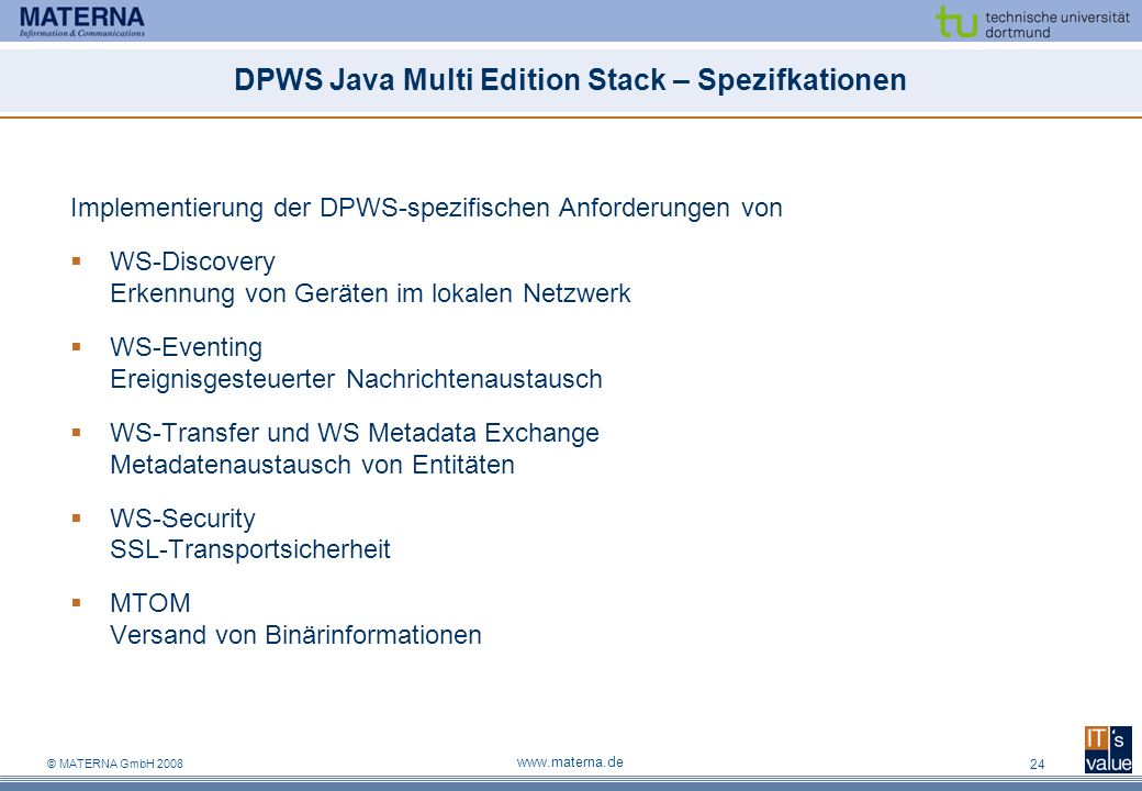 DPWS Java Multi Edition Stack – Spezifkationen