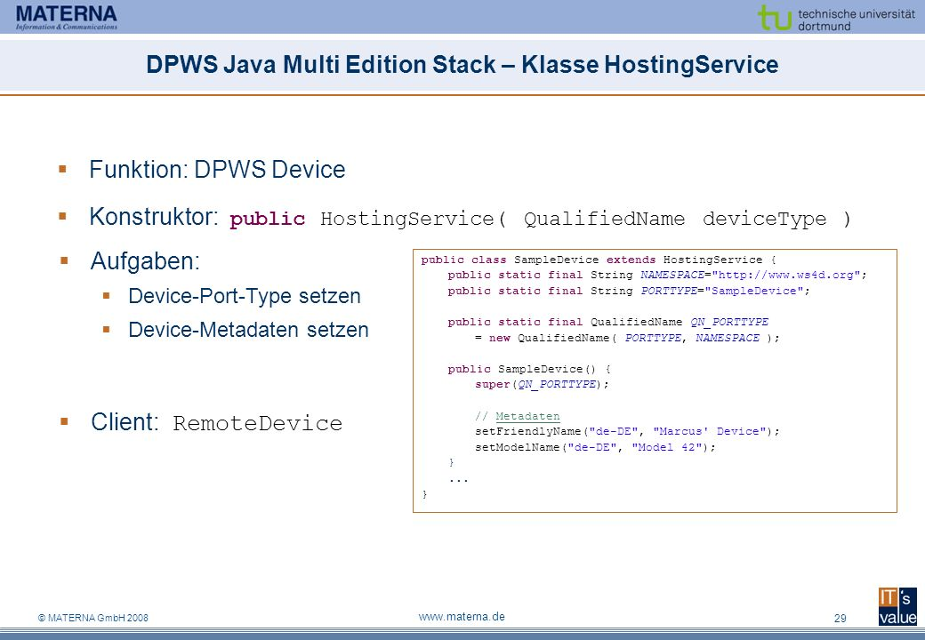DPWS Java Multi Edition Stack – Klasse HostingService