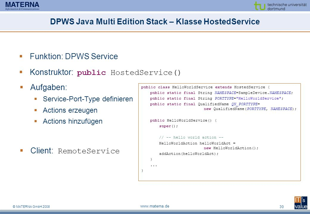 DPWS Java Multi Edition Stack – Klasse HostedService