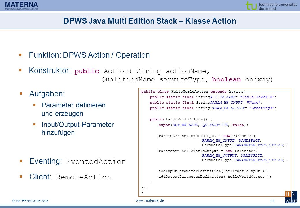 DPWS Java Multi Edition Stack – Klasse Action