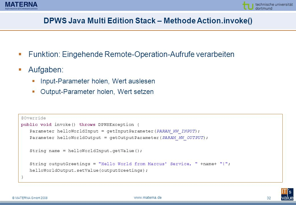 DPWS Java Multi Edition Stack – Methode Action.invoke()