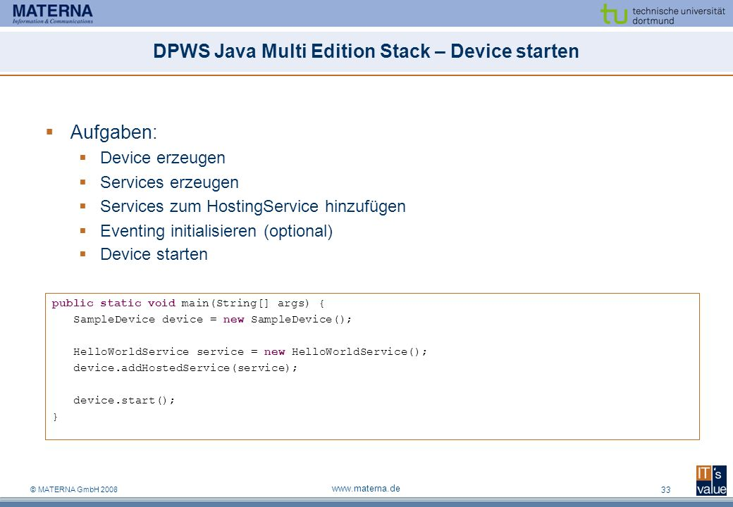 DPWS Java Multi Edition Stack – Device starten