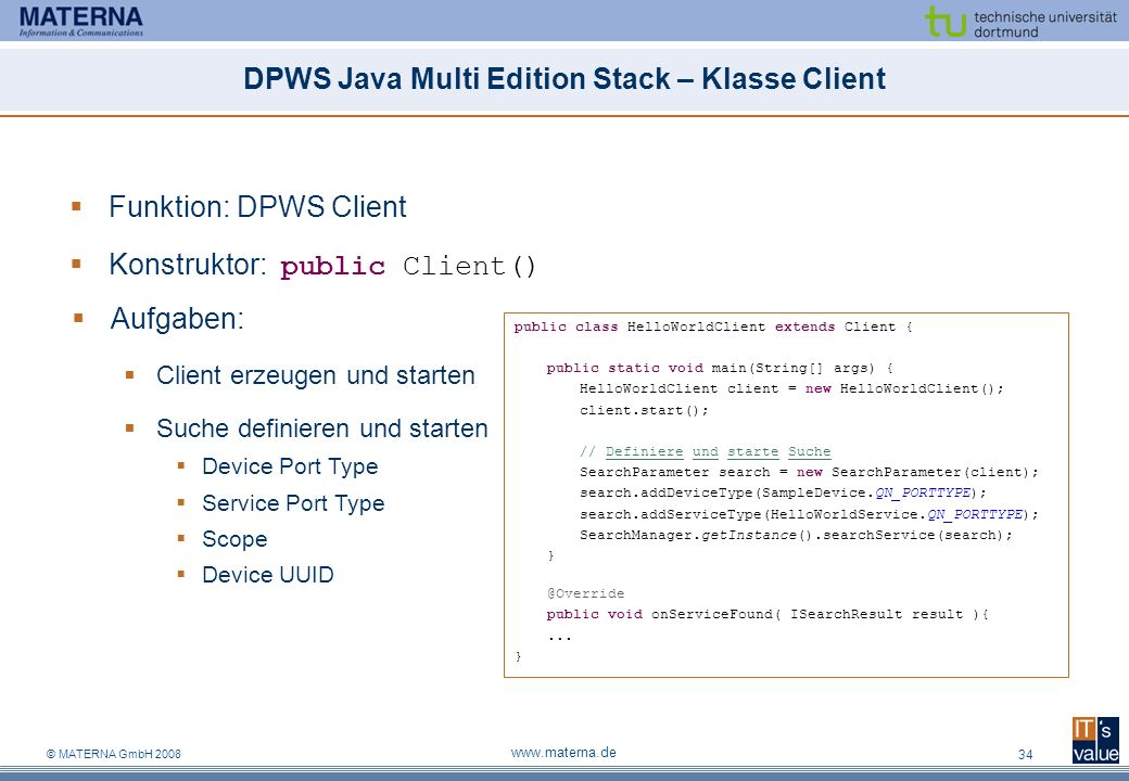 DPWS Java Multi Edition Stack – Klasse Client