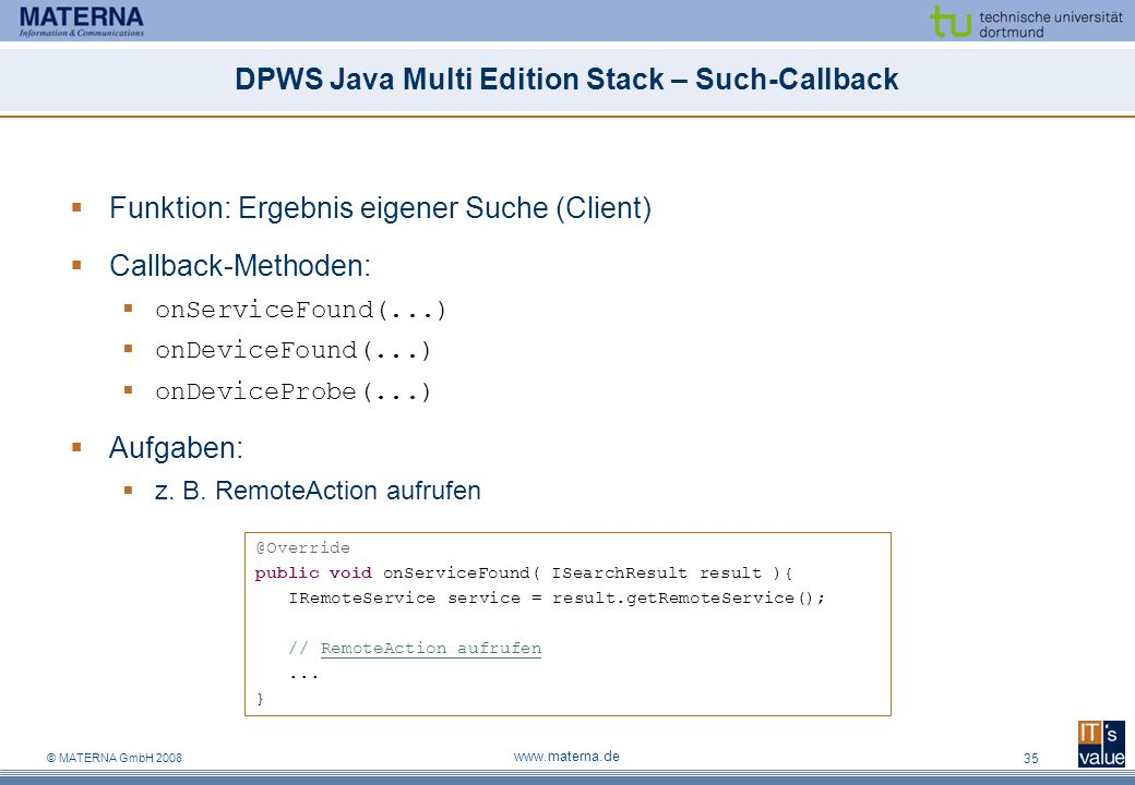 DPWS Java Multi Edition Stack – Such-Callback