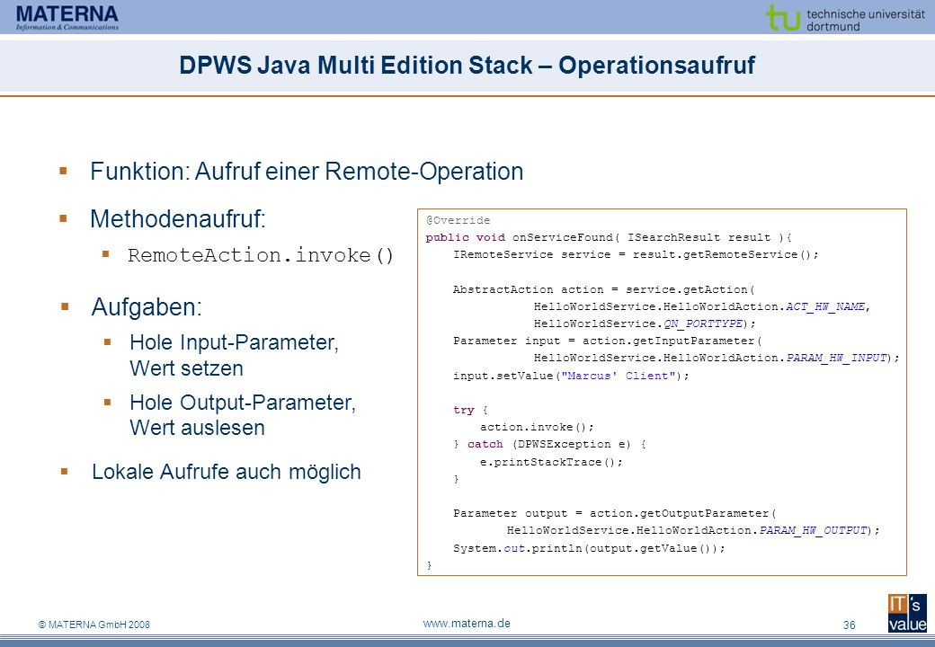 DPWS Java Multi Edition Stack – Operationsaufruf