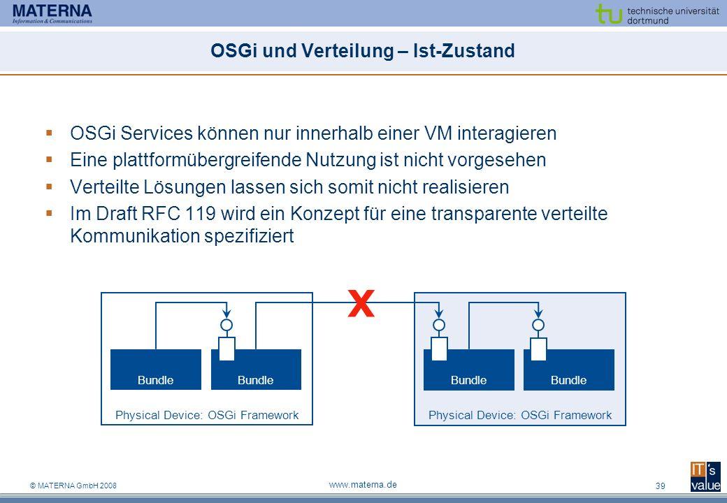 OSGi und Verteilung – Ist-Zustand