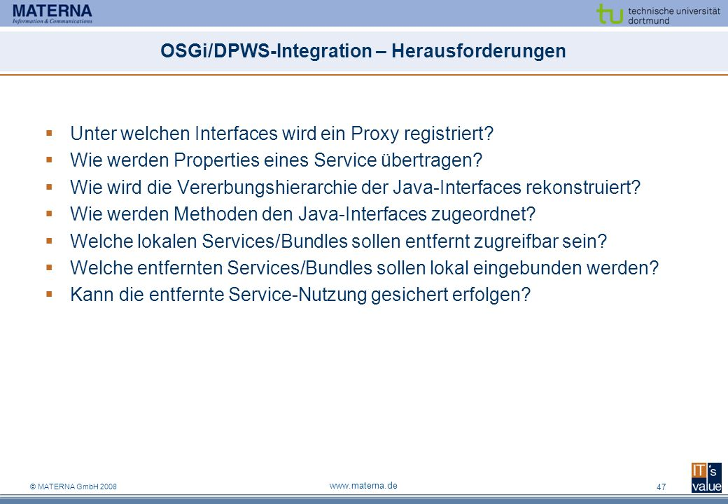 OSGi/DPWS-Integration – Herausforderungen