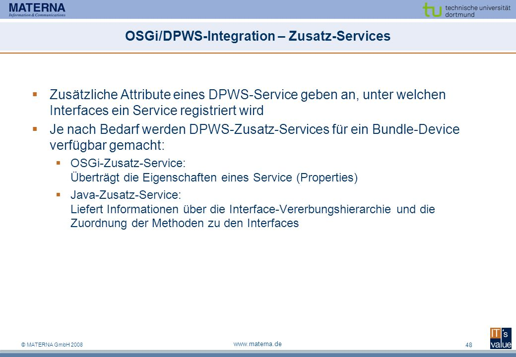 OSGi/DPWS-Integration – Zusatz-Services