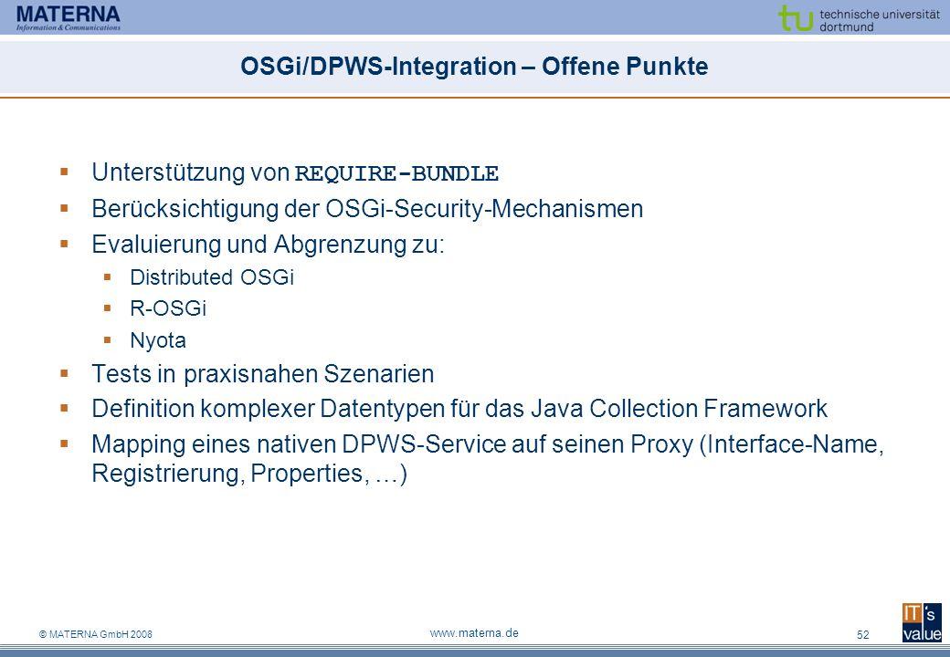OSGi/DPWS-Integration – Offene Punkte