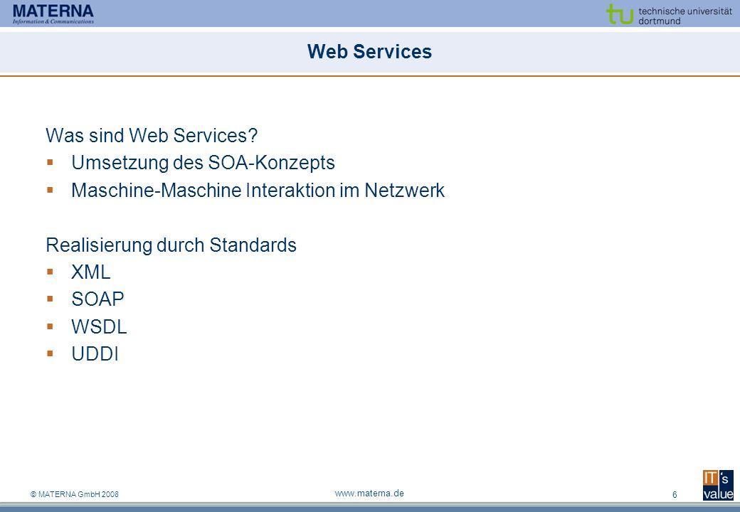 Umsetzung des SOA-Konzepts Maschine-Maschine Interaktion im Netzwerk