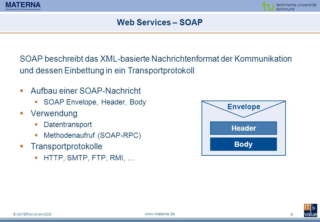 SOAP beschreibt das XML-basierte Nachrichtenformat der Kommunikation