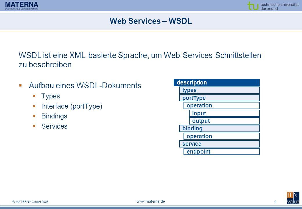 WSDL ist eine XML-basierte Sprache, um Web-Services-Schnittstellen