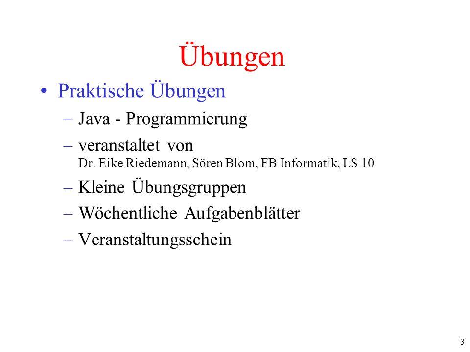Übungen Praktische Übungen Java - Programmierung