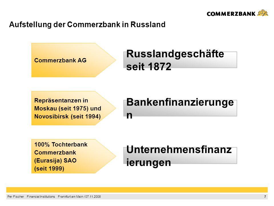 Aufstellung der Commerzbank in Russland