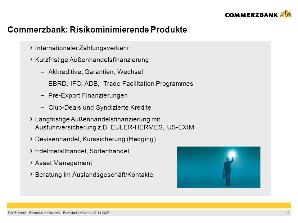 Commerzbank: Risikominimierende Produkte