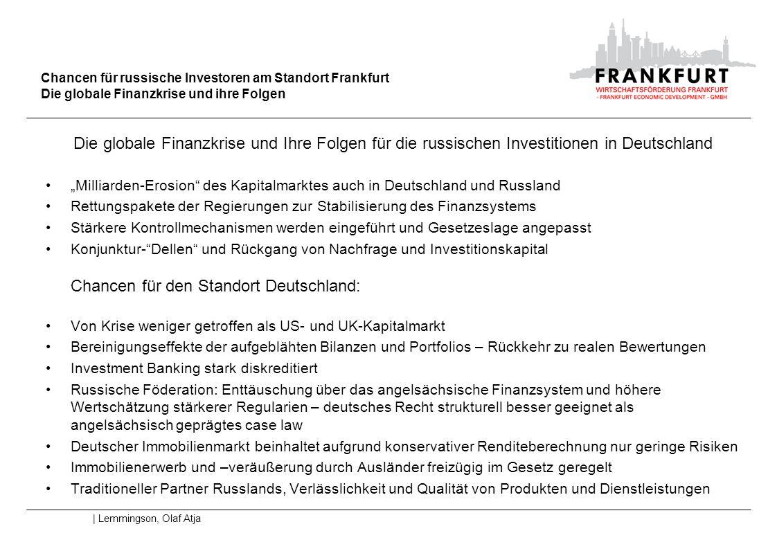 Chancen für russische Investoren am Standort Frankfurt