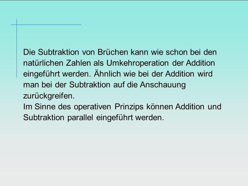 Die Subtraktion von Brüchen kann wie schon bei den natürlichen Zahlen als Umkehroperation der Addition eingeführt werden.