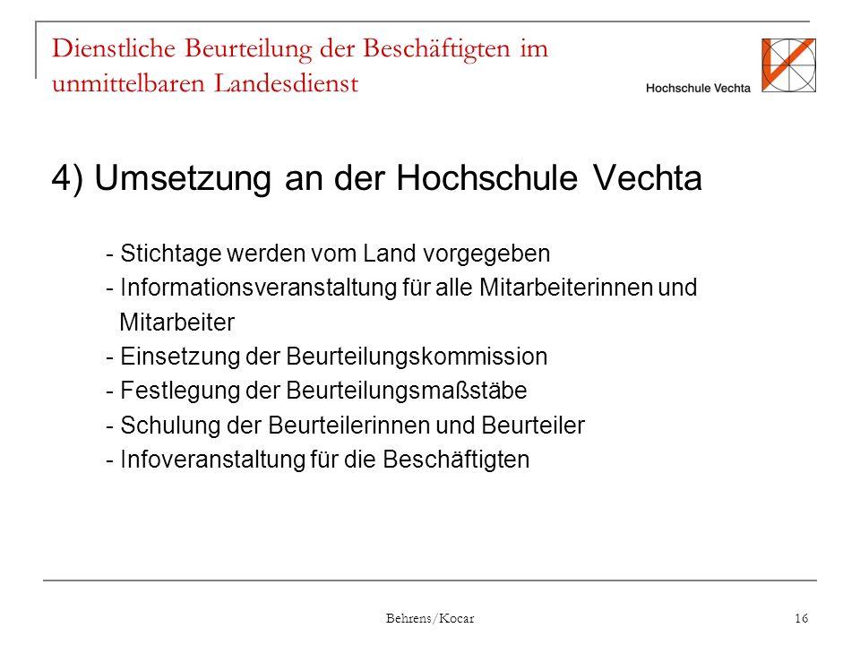 4) Umsetzung an der Hochschule Vechta