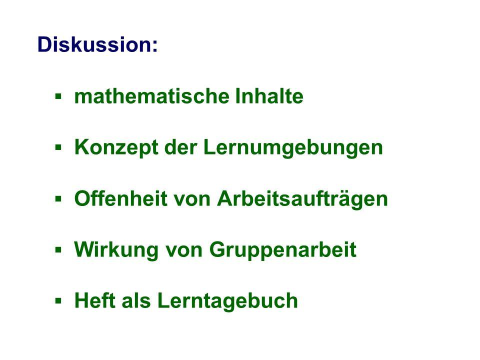 Diskussion: ▪ mathematische Inhalte ▪ Konzept der Lernumgebungen ▪ Offenheit von Arbeitsaufträgen ▪ Wirkung von Gruppenarbeit ▪ Heft als Lerntagebuch