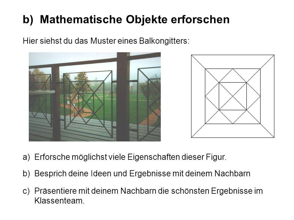 b) Mathematische Objekte erforschen