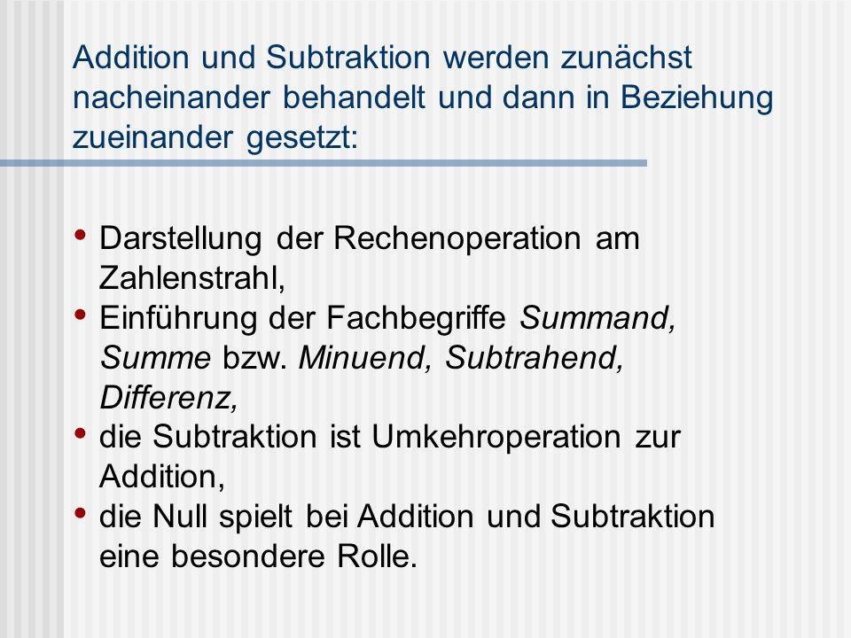 Addition und Subtraktion werden zunächst nacheinander behandelt und dann in Beziehung zueinander gesetzt: