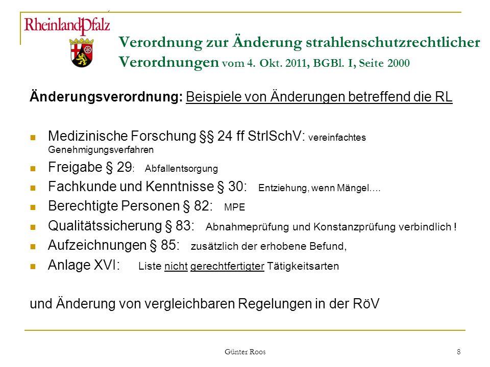 Änderungsverordnung: Beispiele von Änderungen betreffend die RL