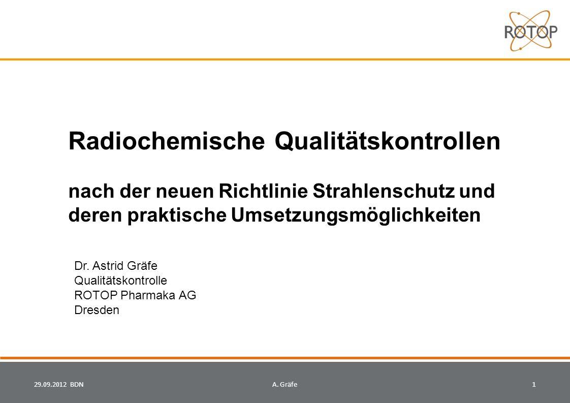 AsGr Radiochemische Qualitätskontrollen nach der neuen Richtlinie Strahlenschutz und deren praktische Umsetzungsmöglichkeiten.