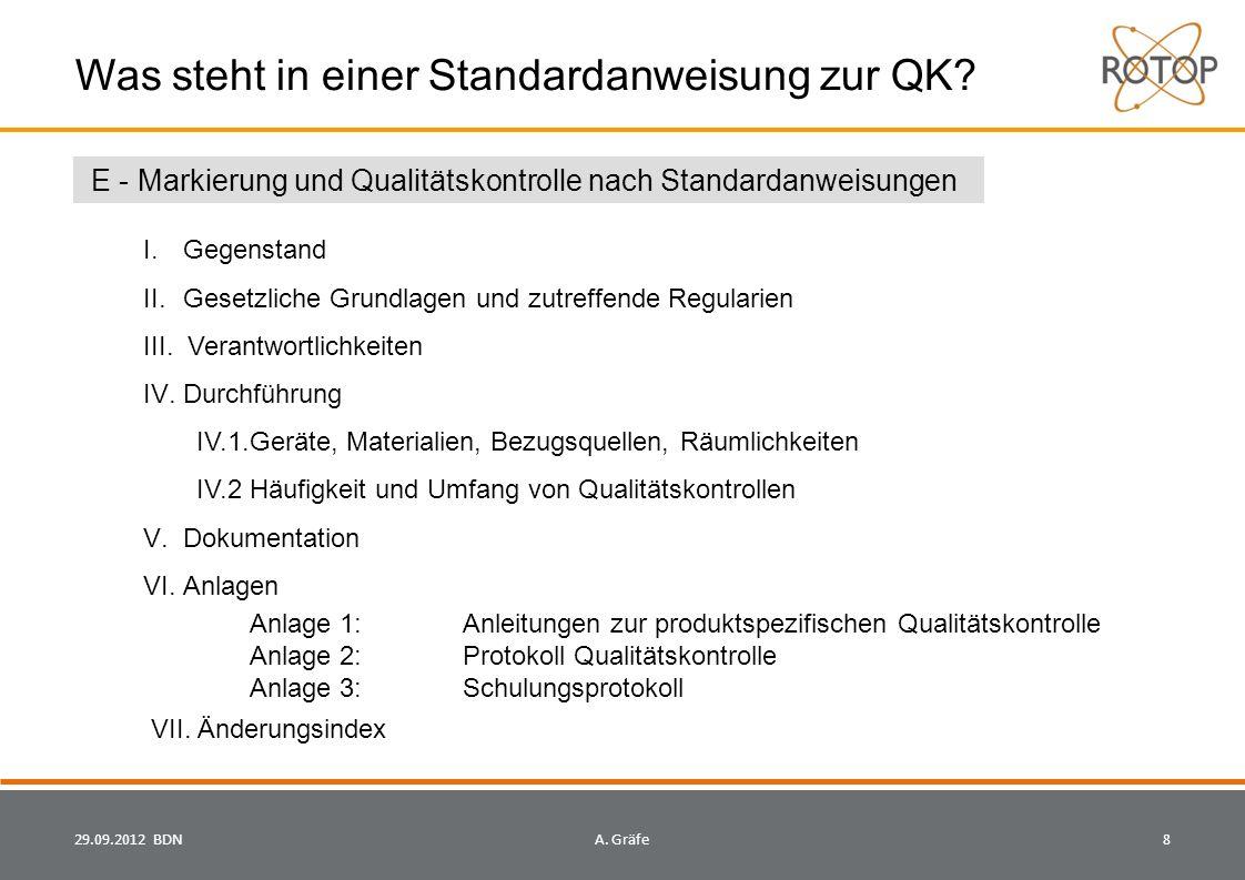 Was steht in einer Standardanweisung zur QK