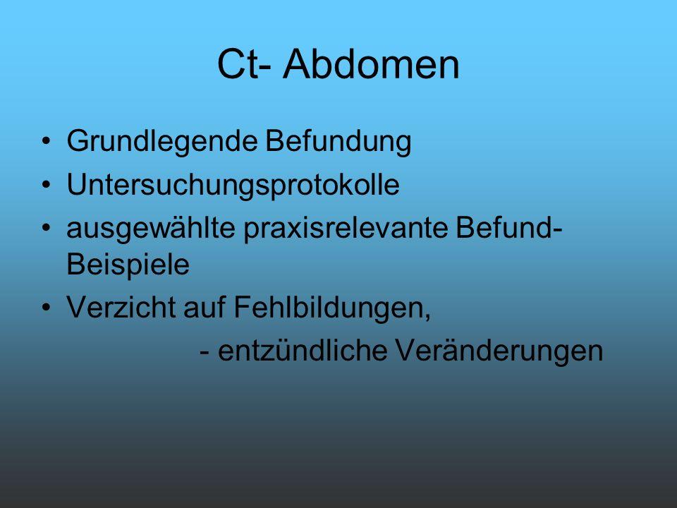 Ct- Abdomen Grundlegende Befundung Untersuchungsprotokolle