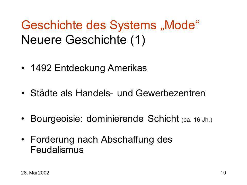 "Geschichte des Systems ""Mode Neuere Geschichte (1)"
