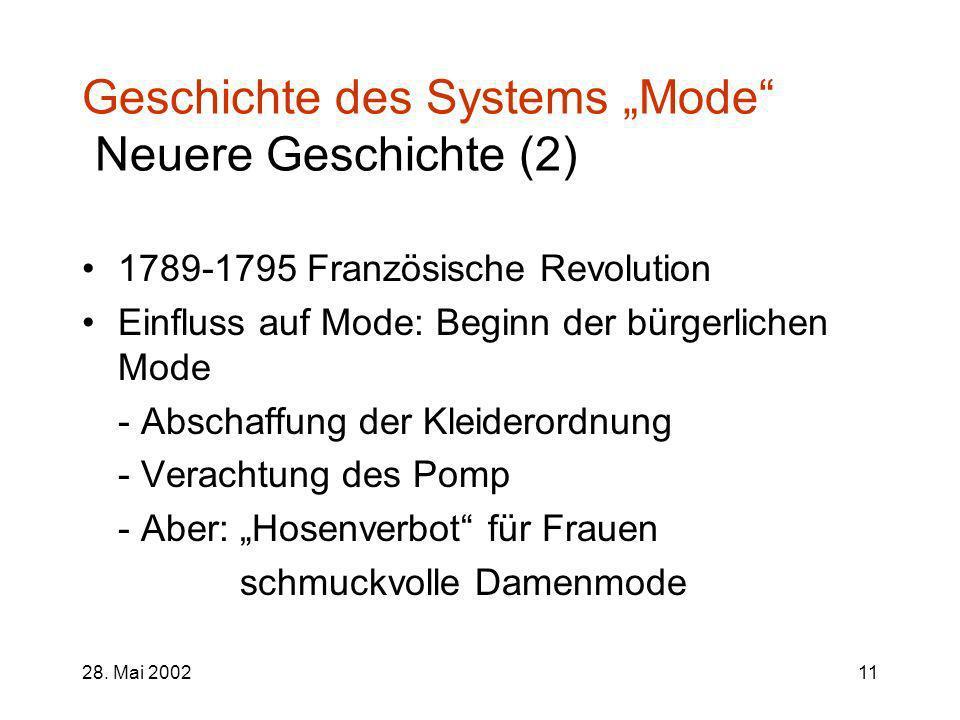 "Geschichte des Systems ""Mode Neuere Geschichte (2)"