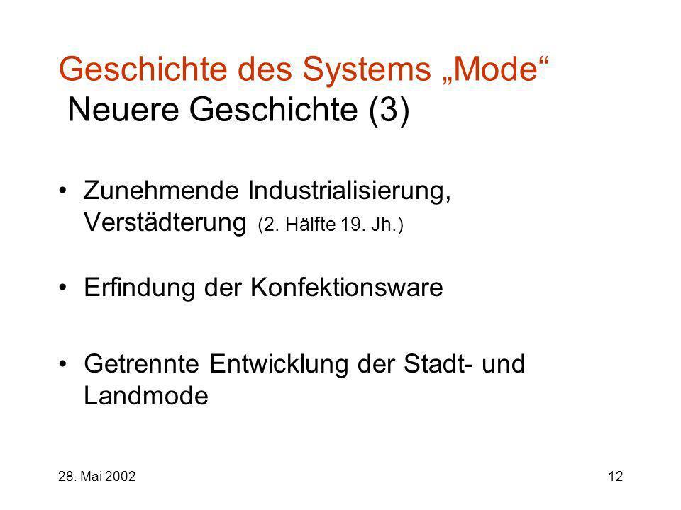 "Geschichte des Systems ""Mode Neuere Geschichte (3)"