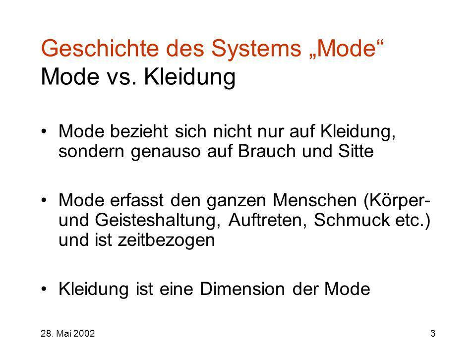"""Geschichte des Systems """"Mode Mode vs. Kleidung"""