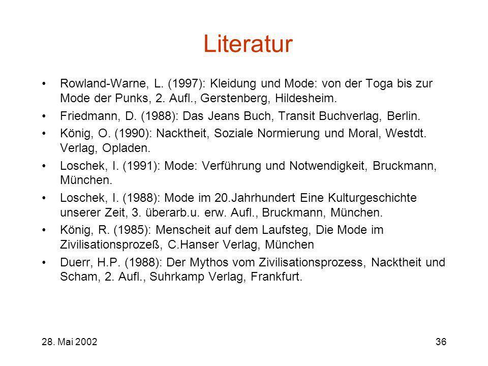 Literatur Rowland-Warne, L. (1997): Kleidung und Mode: von der Toga bis zur Mode der Punks, 2. Aufl., Gerstenberg, Hildesheim.