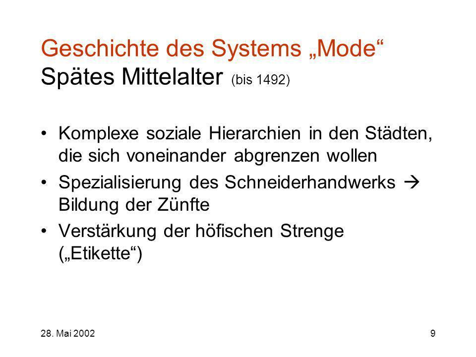 """Geschichte des Systems """"Mode Spätes Mittelalter (bis 1492)"""
