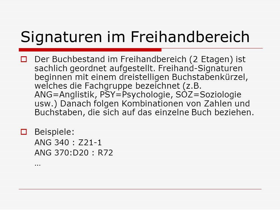 Signaturen im Freihandbereich