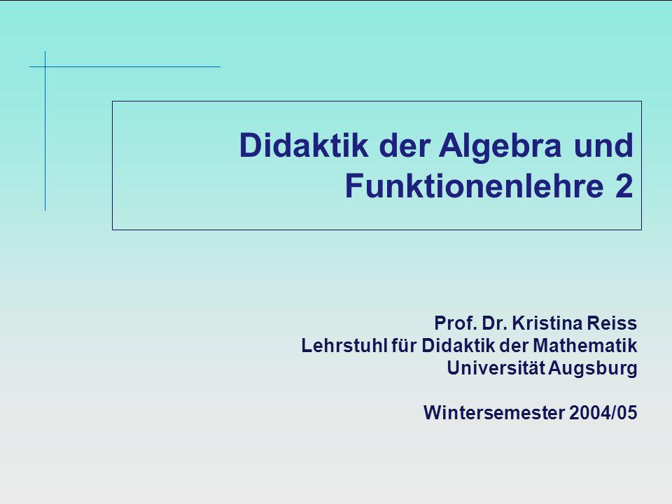 Didaktik der Algebra und Funktionenlehre 2