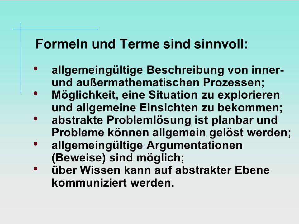Formeln und Terme sind sinnvoll:
