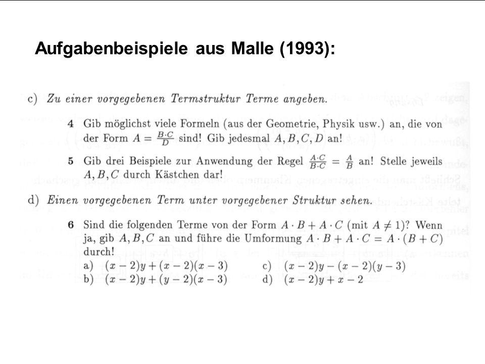 Aufgabenbeispiele aus Malle (1993):