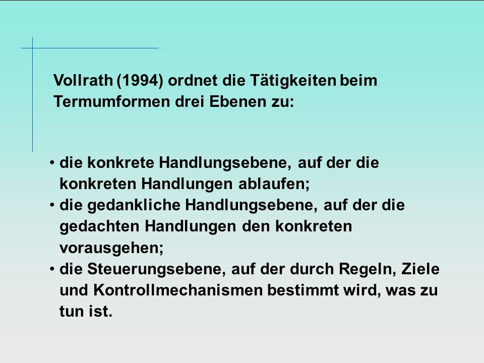 Vollrath (1994) ordnet die Tätigkeiten beim Termumformen drei Ebenen zu: