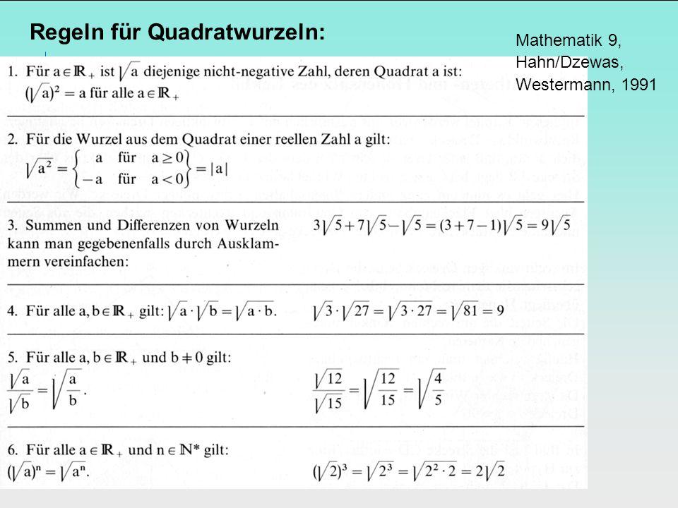 Regeln für Quadratwurzeln: