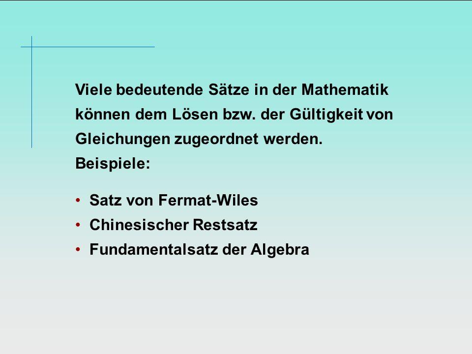 Viele bedeutende Sätze in der Mathematik