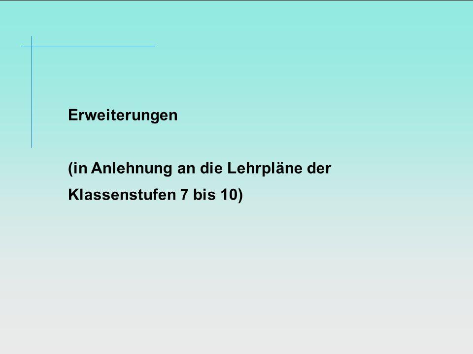 Erweiterungen (in Anlehnung an die Lehrpläne der Klassenstufen 7 bis 10)