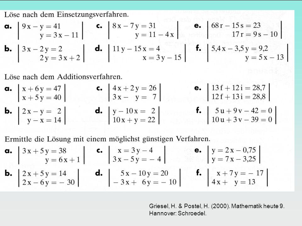 Griesel, H. & Postel, H. (2000). Mathematik heute 9