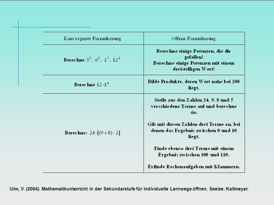Ulm, V.(2004). Mathematikunterricht in der Sekundarstufe für individuelle Lernwege öffnen.