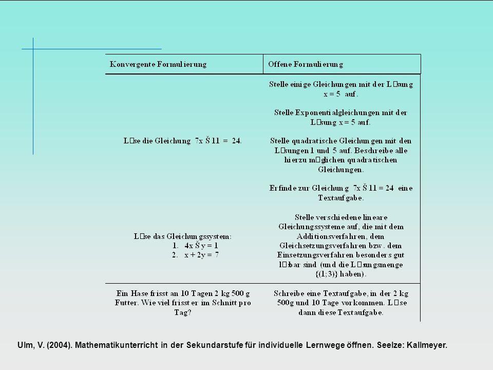 Ulm, V. (2004). Mathematikunterricht in der Sekundarstufe für individuelle Lernwege öffnen.