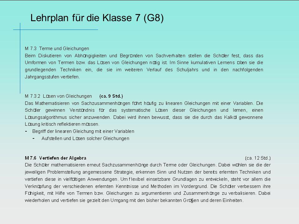 Lehrplan für die Klasse 7 (G8)